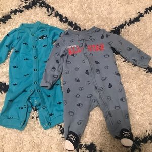 Shark and Sports Newborn Onesie Sleepers